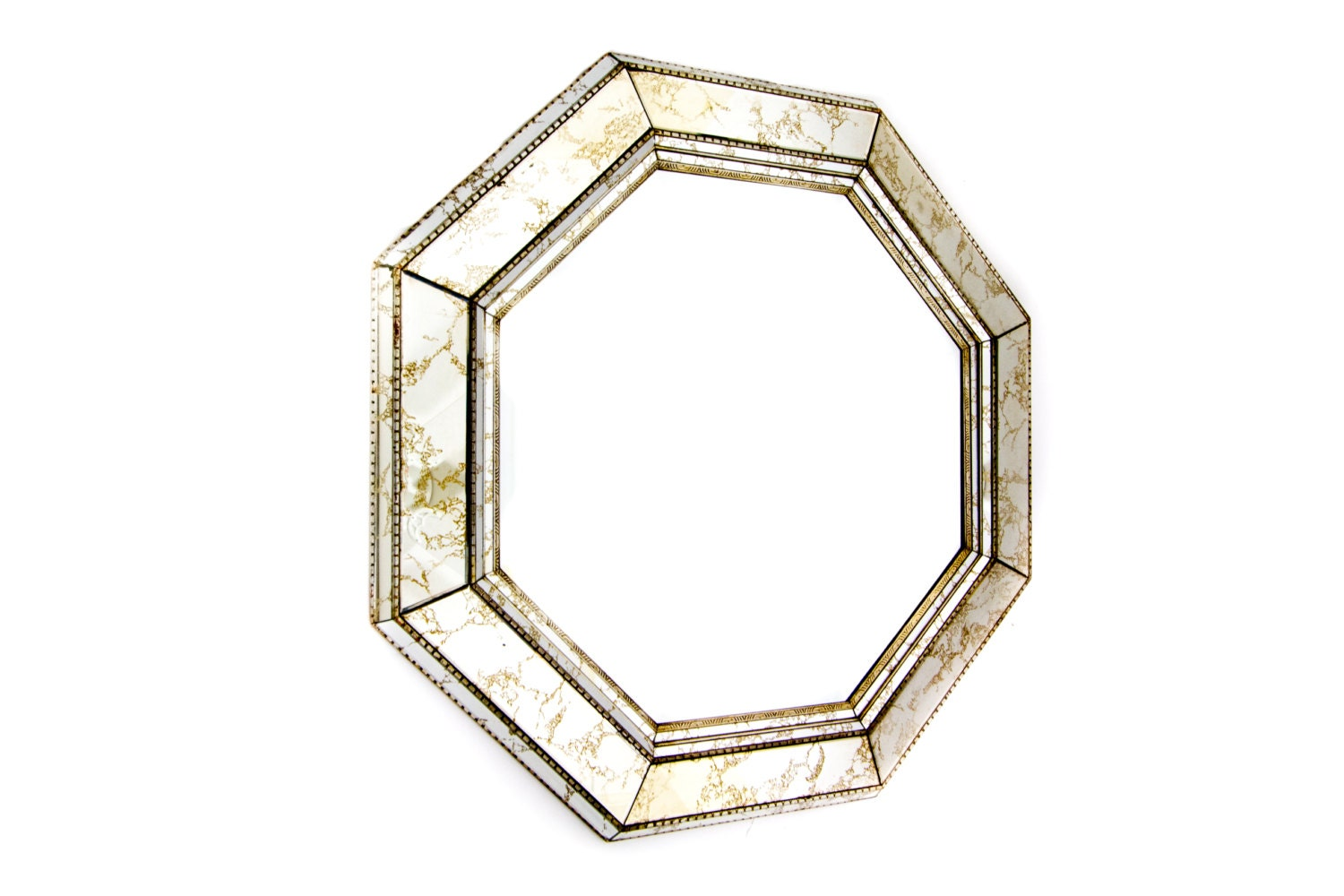 Octagonal wall mirror gold vein beveled glass large for Octagon beveled mirror