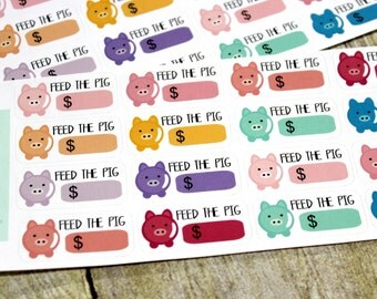 Money Planner Stickers - Reminder Stickers - Planner Stickers - Piggy Bank Stickers - Savings Stickers -Happy Planner - ECLP Stickers