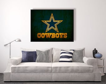 Dallas Cowboys vintage style Canvas Print, vintage football decor, football room decor, room decor for men, apartment decorating ideas