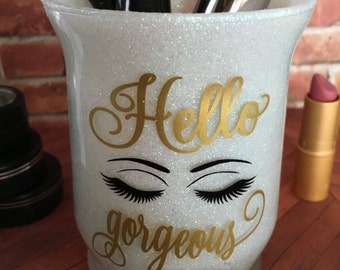 Glitter Makeup Brush Cup Holder, Makeup Brush Cup, Glitter Makeup Brush Holder, Bathroom Vanity Accessories, Sweet Sixteen, Hello Gorgeous