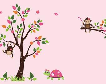 "Baby Girls Decals - Nursery Wall Decals - Baby Girls Nursery - Girls Room Decor - Pink Nursery Decals - Safari Wall Decals - 83"" x 140"""