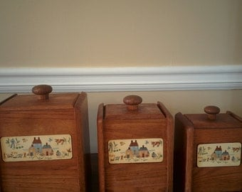 vintage wooden kitchen containers