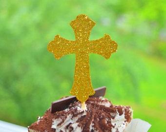 Baptism Cupcake Toppers Christening Cupcake Toppers Cross Cupcake Toppers Holy Communion Toppers Cross Toppers Religious Cupcake Toppers