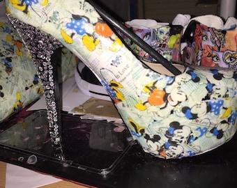 Minnie and mickey decoupage stilletto heels