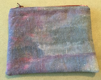 Hand Dyed Canvas Pouch with Boho Lining