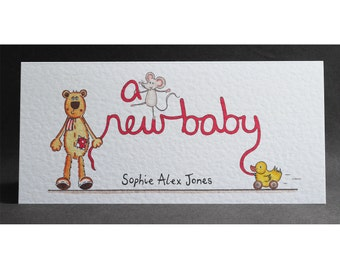 A New Baby Card, New Arrival Card, Birth Card, Newborn Card, Can be personalised with full name. Please read item description for details.