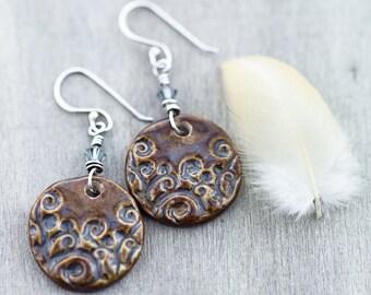 Stormy swirl porcelain earrings-sterling silver earwires