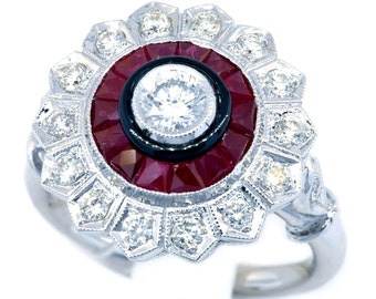 0.24 Carats Diamond Ruby Antique Ring 18K White Gold Round Design [RA0015]