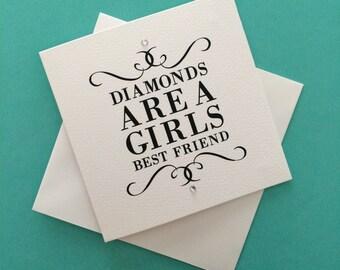 Diamonds Are A Girls Best Friend Mini Greeting Card