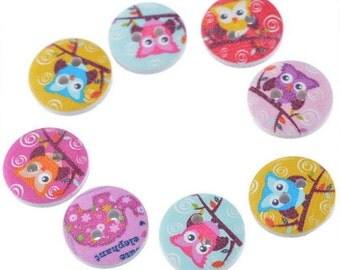 Owl Buttons, Wooden Owl Buttons, Wooden Buttons, 15mm Buttons, Wooden 15mm Buttons,Bird Buttons, Small Owls, 15mm Owl Buttons, Small Owls,