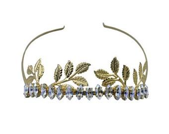 Leaves with cup navette 7x15 mm royal hair hoop