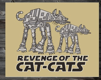 Cat Lover Print, Robot Cat Print, Whimsical Animal 8x10 Print, Cat Wall Art