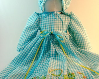 Blue Gingham Pillow Case Doll with Monogram C