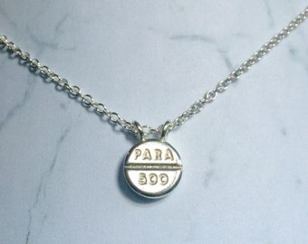 """Paracetamol """"Ease the pain"""", painkiller, drug, hand cast silver pendant on sterling silver chain"""