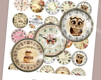 Vintage Hours Collage Sheet /you will get it in 3 sizes/ circle  Pendant Printable Download jewelry making
