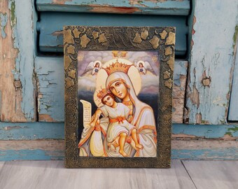 Madonna and Child,Madonna Icon,Virgin Mary,Icon Wall Decor,Religious Present,Religious Gift,Christmas Gift,Byzantine Art,Church Icon Art