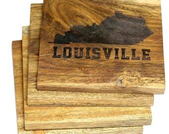 Louisville, Kentucky Coasters - Set of 4 Engraved Acacia Wood Coasters