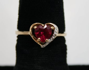 Heart shaped ruby set in Yellow gold ring size 6.5