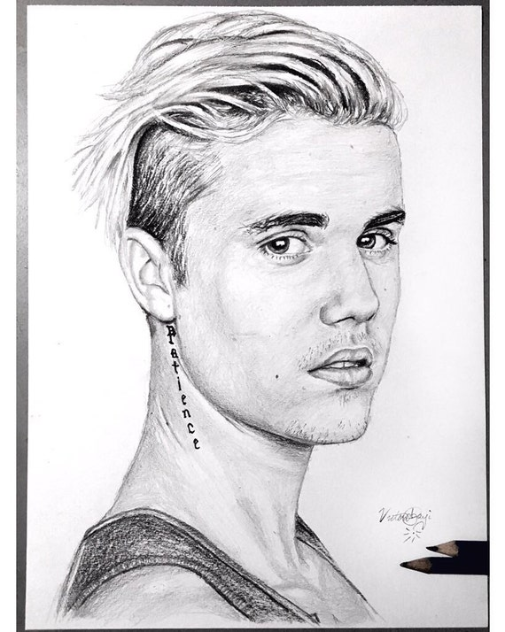 Justin bieber black and white original pencil drawing print - Dessin justin bieber ...