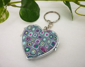 pocket  mirror, bag mirror,  with polymer clay