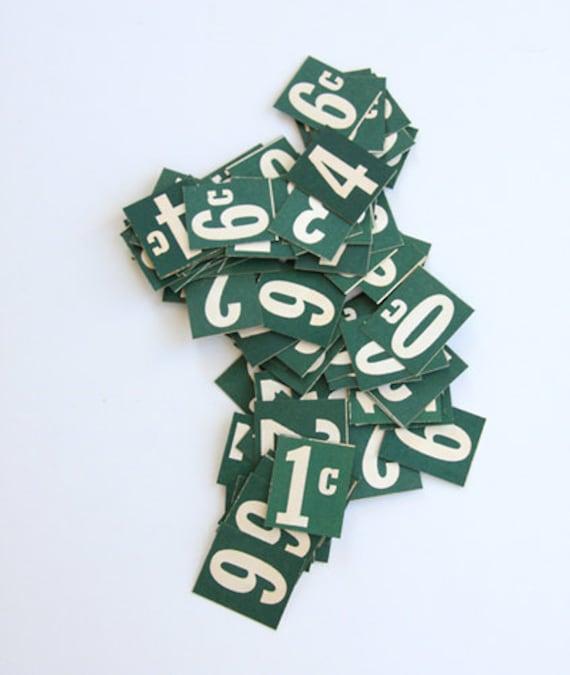 Set of Green Vintage Price Signs - General Store - Ephemera - Signs - Mixed Media - Scrapbooking - Assemblage