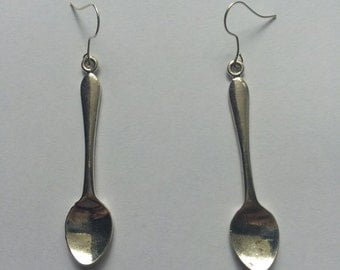 Silver Spoon Cutlery Dangly Earrings