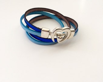 Leather strap double Tower, Royal Blue Metallic and blue sky, heart clasp
