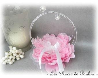 "Holder, pink and white large flower rings wedding ""Scrolls"" b"