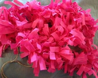70 inch Hot Pink Rag Garland