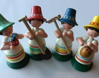 Four Erzgebirge Garden Girls Vintage German Wooden Dolls