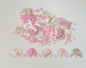 100 pink and gray elephant confetti,  paper punch