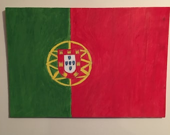Wooden Portuguese Flag