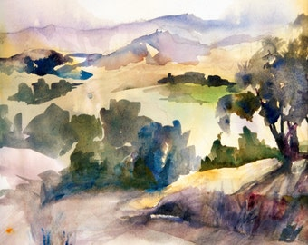 Watercolor Giclee Print Landscape Central Valley California Wall Art Peaceful Foothills Painting