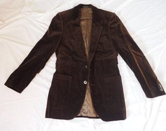 Vintage Brown Velvet Yves Saint Laurent Jacket with Side Vents Size Small/Medium