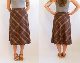 1970's Brown Plaid Midi Skirt// By Parsons Place