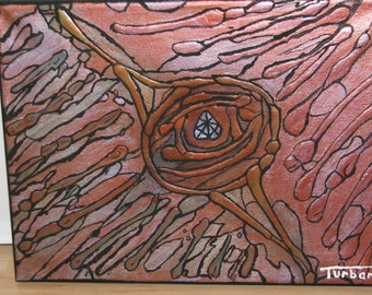 """Abstract Expressionist """"Eye of Fire"""" 9""""x12"""" Acrylic on Canvas"""