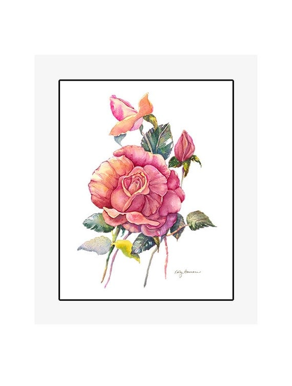 """Red Rose original watercolor painting on 300 lb cold press paper, 20"""" x 24"""" matted and backed, artist Kathy Baumann"""