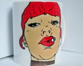 Unique, hand-printed funky ceramic mugs