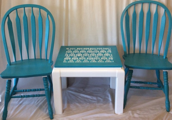 items similar to sale hand painted teal garden furniture porch set demask table 3 piece set. Black Bedroom Furniture Sets. Home Design Ideas