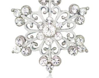 Silver-tone Swarovski Element Crystals Scroll Snowflake Pin Brooch