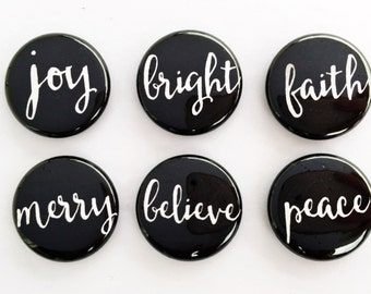 Set of 6 Flair Badges {Holiday Words B&W}