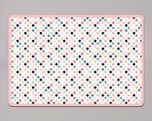 Playful Polka Dots Dog Bowl Mat | Dog Food Mat | Dog Bowl Mat | Cat Food Placemat | Pet Feeding Mat | Pet Food Mat | FB-DPP-00009