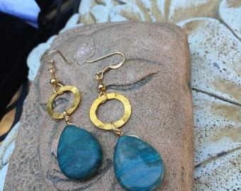 Gemstone jewelry- gemstone earrings- Blue gemstones- dangle earrings- hammered brass- wire wrapped jewelry-14 K gold filled