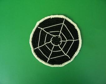 Miniature Rug-Crochet Rugs-Dollhouse Rug-Black /white spider web- Rug-Miniature  -Crochet Thread