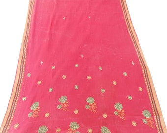Red Free Shipping Antique Vintage Sari Pure Cotton Saree Decor Floral Embroidered Wrap Fabric Indian Craft Clothing Sarong 5Yard MD89