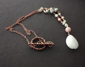 Copper necklace with aquamarine pendant