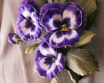 Violet Silk flowers , heart's ease brooch, floral brooch, silk kiss-me-quick broach, flower accessories, wedding flowers, flower broochs