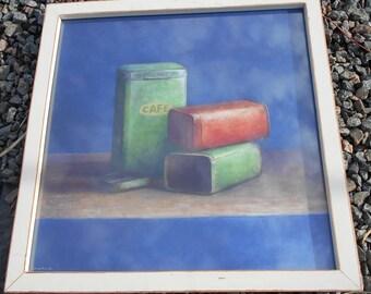 Vintage 'Café' Tins -  Framed Art Print