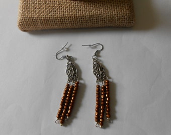 Bronze glass beaded dangle earrings 3 inches