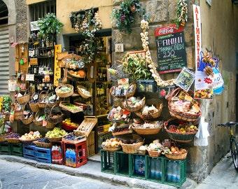 Food Market, Florence Italy, Italian Market,  Market Print Italy, Alimentari Photo, Italian Storefront, Italy Wall Art, Fine Art Photograph